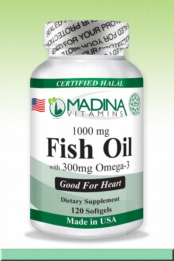 Halal Fish Oil (1000mg) with Omega 3 (300mg) with Halal Bovine Gelatin