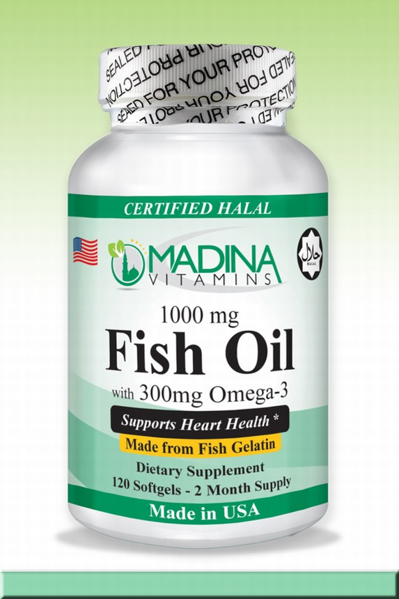 Halal Fish Oil (1000mg) with Omega 3 (300mg) with Fish Gelatin