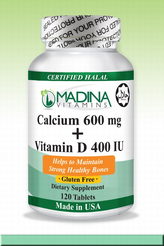 Halal Calcium 600mg with Vitamin D 400 IU